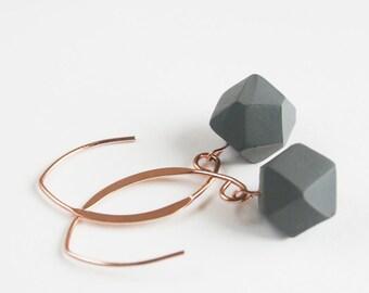 Rose Gold Earrings, Geometric Cube Earring, Modern Jewelry, Minimalist Statement Earrings, Chic Jewelry, 14 Karat Gold Filled, Grey Earrings