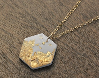 Gold Hexagon Necklace, White and Gold Necklace, Hexagon Pendant Necklace, Geometric Necklace, Wedding Statement Necklace, Delicate Necklace