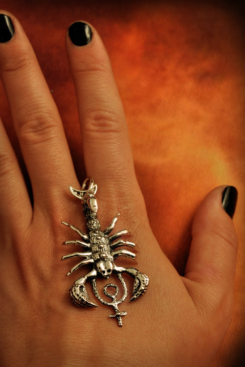 lost wax casting scorpion astrological sign 925 sterling silver totem animal corvidana astrology Pluto in Scorpio pendant witch