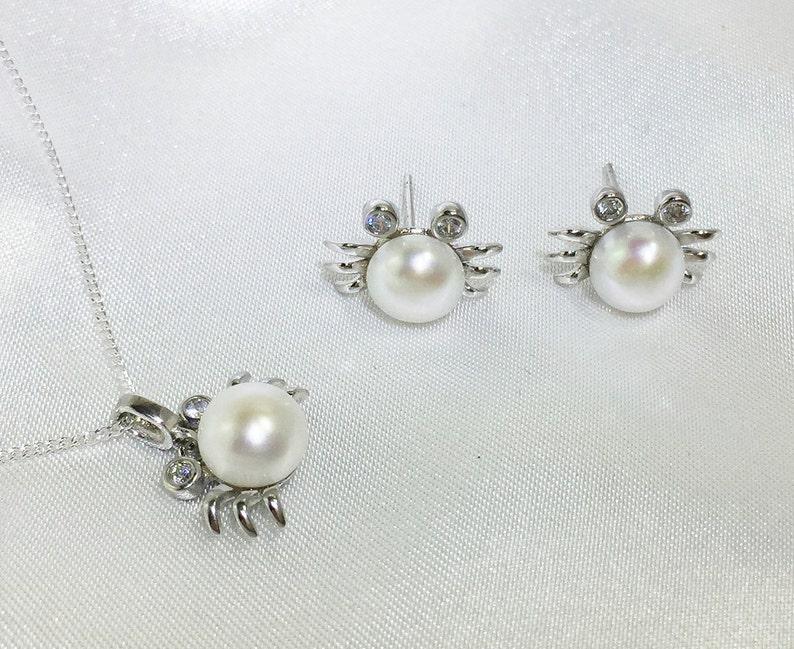 01389c063e Süßwasser Perle Halskette Ohrringe Set Ariel Cube Krabbe | Etsy