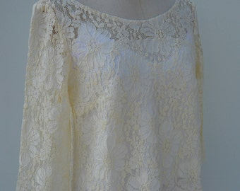Blouse ivory lace, ivory lace sleeveless blouse, long sleeve top, long sleeve ivory, ivory wedding lace blouse top, blouse