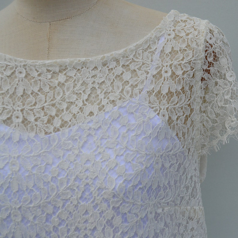 Ivory blouse lace of Calais ivory lace cover-up blouse short sleeve blouse backless lace gown ivory