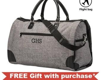 1c1266427 Monogrammed Folding Garment Bag - Personalized Gray Men's Convertible  Garment Bag - Groomsmen Gift - Suit Duffle Bag - Men's Travel Suit Bag