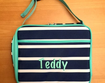 M J Exclusive - Navy and Mint Stripe Lunch Box with Name - Middle School  Teen Lunch - Presley Prep Stripe Cooler - Lunch Bag - Snack Tote cb071514adec4