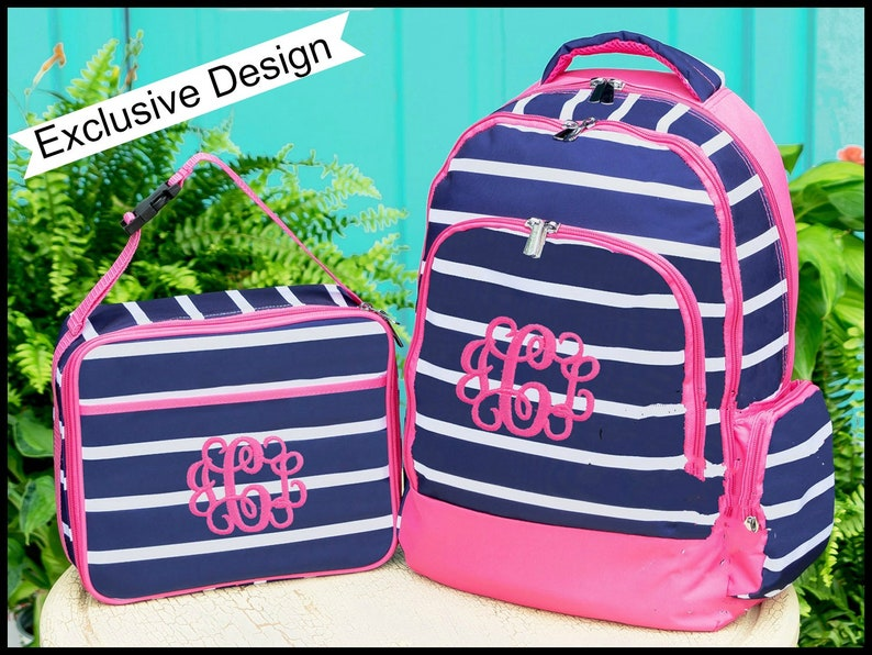 2e8dd6128e5f8a Backpack and Lunch Box Set Monogrammed Backpack and Lunchbox