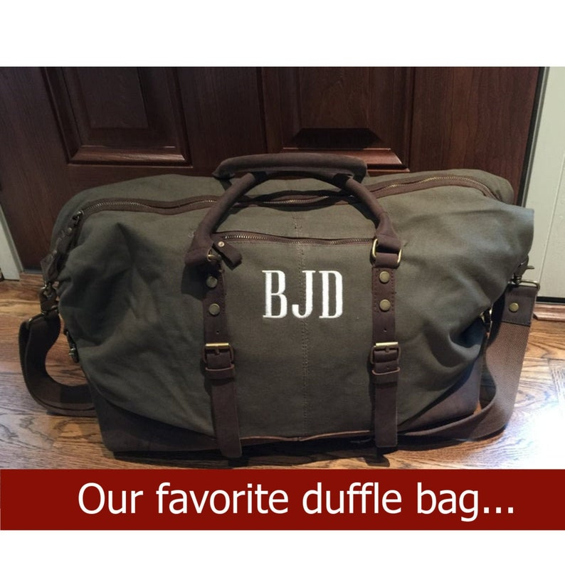 Weekender Travel Bag  Personalized Mens Leather Bag  Canvas image 0