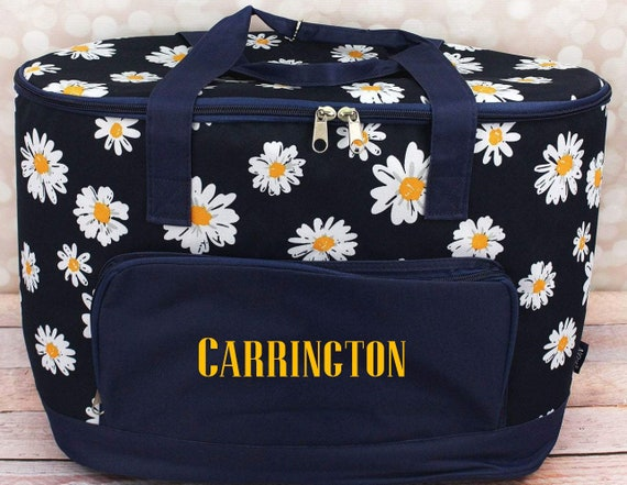 9727ec486d832 Daisy Pattern Extra Large Monogrammed Cooler Tote Bag - Monogrammed Cooler  Tote Bag - Personalized Insulated Cooler - Shower Gift - Wedding