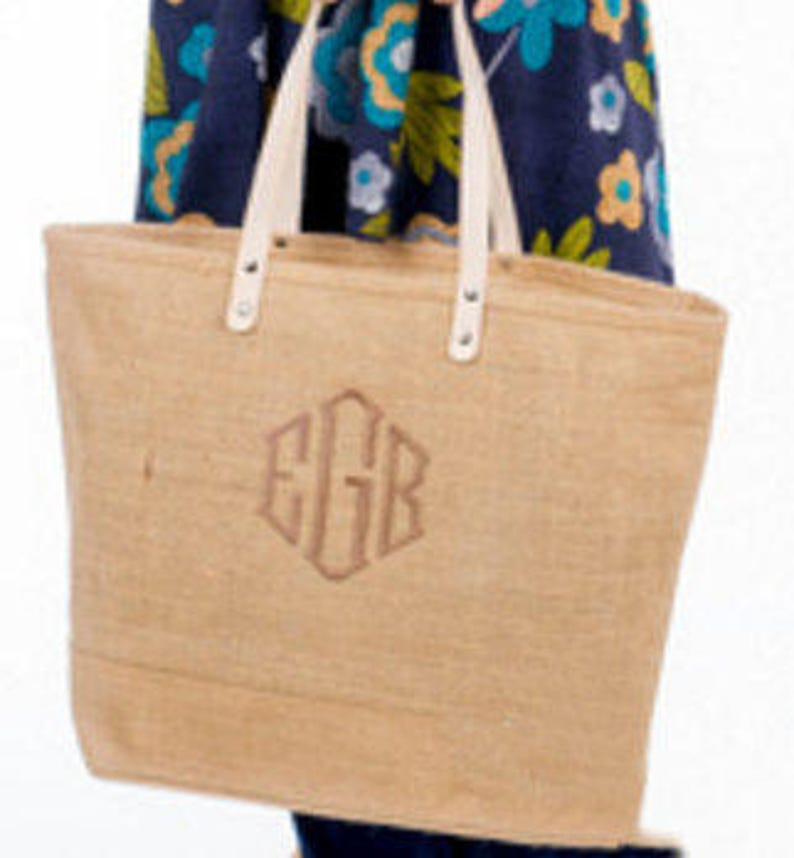 56abc160a Monogrammed EXTRA LARGE Jute Tote Personalized Burlap Beach   Etsy