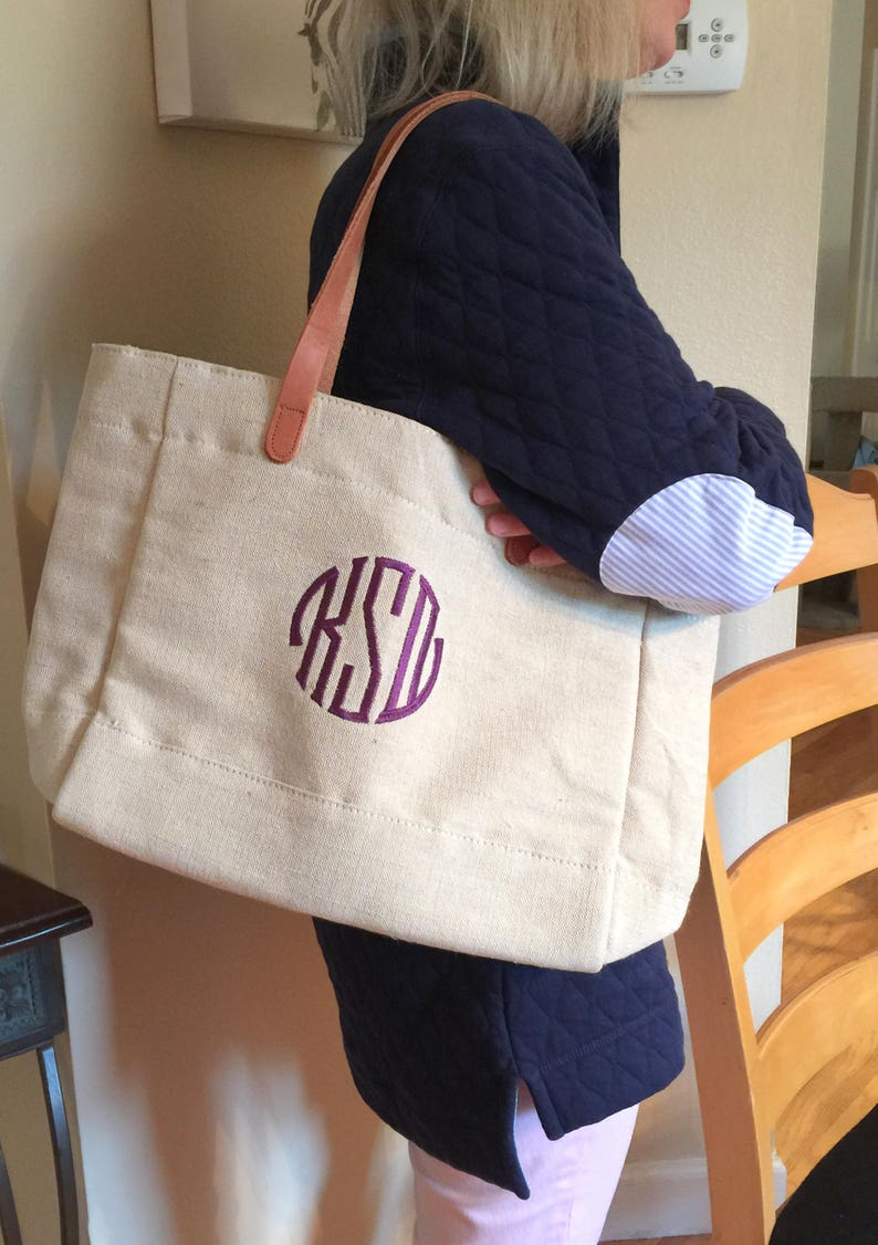Travel Bag Bridesmaid Gift BFF Gift Destination Wedding Genuine Leather Handles Linen and Leather Tote with Seal Monogram