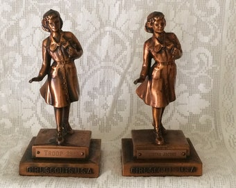 GIRL SCOUT STATUES / Trophies in Copper Finish. c. 1960's