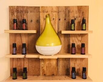 Reclaimed Wood Essential Oil and Diffuser Shelf / Organizer / Storage