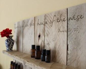Reclaimed Wood Essential Oil Shelf / Organizer / Storage