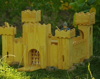 Waldorf Wooden castle wooden dollhouse Waldorf doll castle wooden playhouse miniature castle Waldorf toy castle knight and princess castle