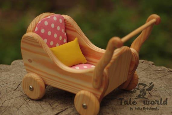 Waldorf houten kinderwagen miniatuur pop buggy montessori etsy