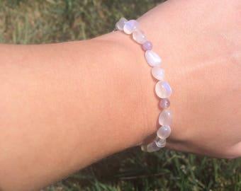 Moonstone and Amethyst Goddess Bracelet