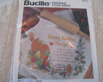 Vintage Bucilla Holiday Apron Stamped Cross Stitch Sewing Kit Thanksgiving Cornucopia Embroidery Sewing Project