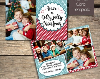 Holly Jolly Christmas Card - 7x5 Photoshop Template - INSTANT DOWNLOAD