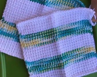 Tunisian crocheted cotton dish cloth