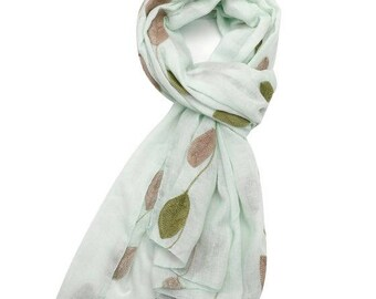 Beautiful Embroidery Little Leaves Scarf