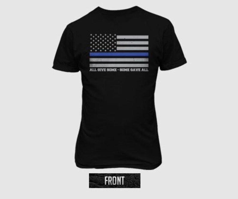 4021c742 United we stand thin blue line NY Flag tee shirt Full Front   Etsy