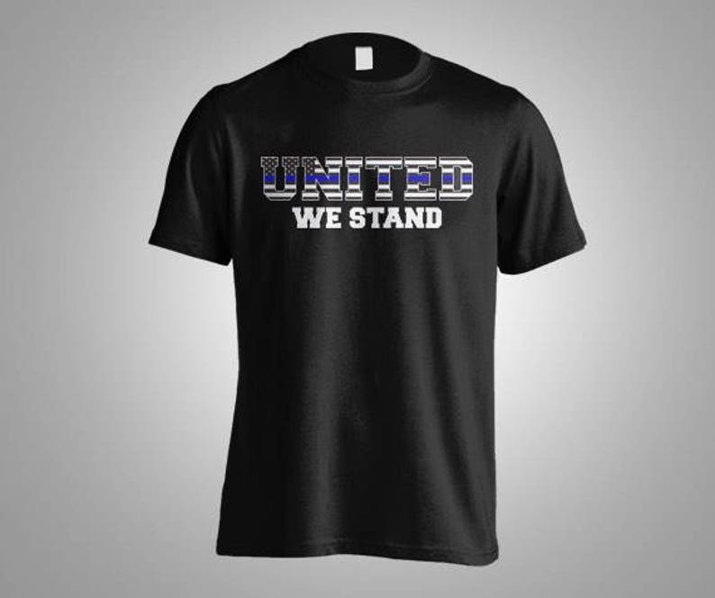 3507e80c Thin Blue Line United We Stand Flag design Police tee Show   Etsy