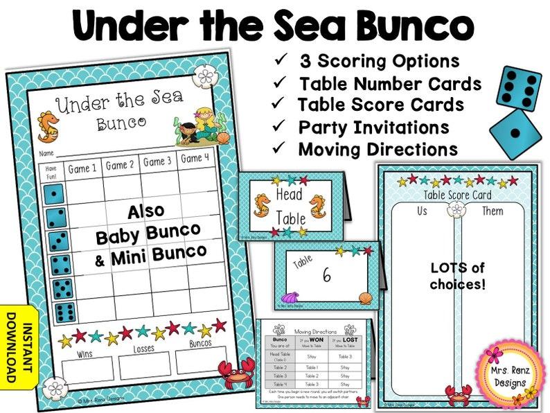 Under the Sea Bunco Party Set Ocean Themed Bunco
