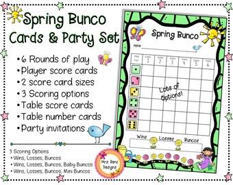 Spring Bunco Cards & Spring Bunco Scorecards With Party Invitations