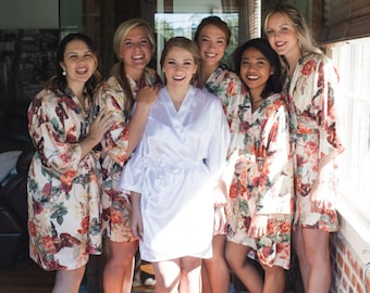 Bridal Party Package / Biridal Party Robes / Bridesmaid Gifts / Custom Bridal Party Kimono / Matching Kimonos / Silk Kimono Robe / Silk Robe