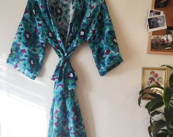 Blue Floral Print Robe / Floral Print Robe / Lightweight Cotton Robe / Bridesmaid Robe / Wedding Party Robe /