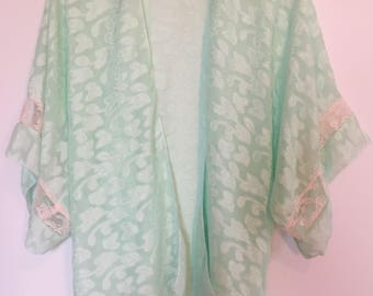 Green and pink lace kimono /beach kimono / light overlay / beachwear