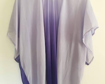 Ombre purple chiffon kimono