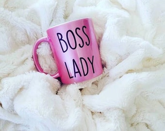 Boss Lady Glitter Mug, Girl Boss Coffee Mug