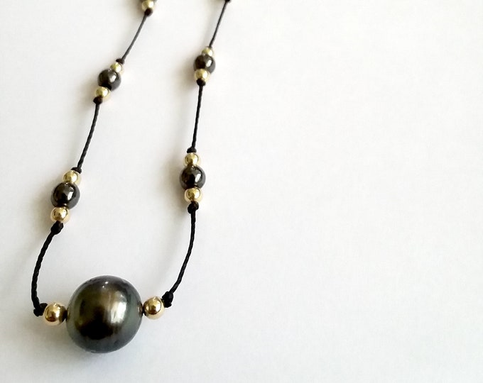 Hematite + Pearl Necklace