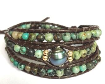African Turquoise + Tahitian Pearl Triple Wrap Bracelet