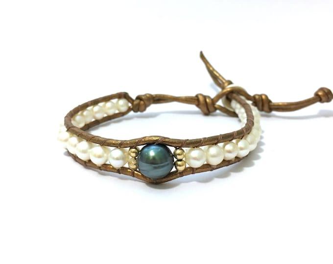 Tahitian + White Freshwater Pearl Bracelet
