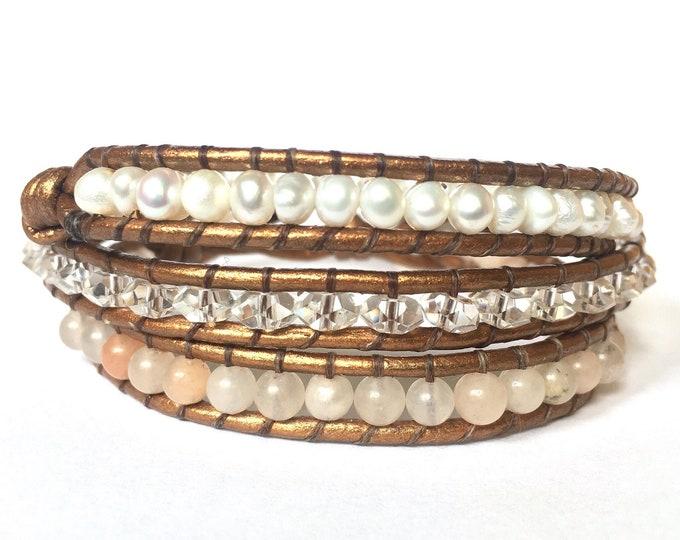 Pink Aventurine, Quartz + White Pearl Triple Wrap Bracelet