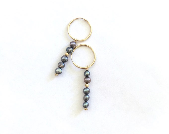 Stacked Freshwater Pearl Hoops