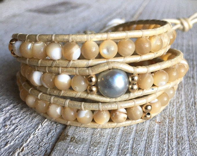 MOTHER OF PEARL + Tahitian Pearl Bracelet