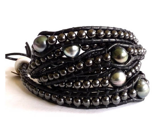 LAVA ROCK BRACELET: A bold and beautiful bracelet with hematite and Tahitian pearls. Get yours today.