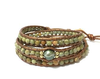 Green Jasper + Tahitian Pearl Triple Wrap Bracelet