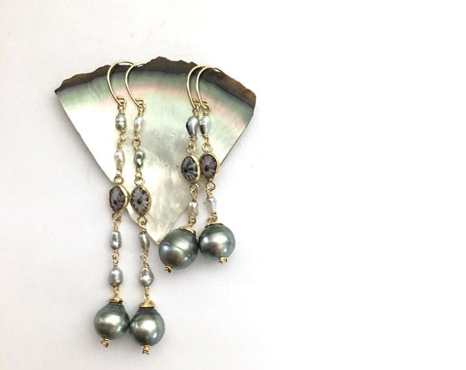 Keshi + 'Opihi + Tahitian Pearl Earrings