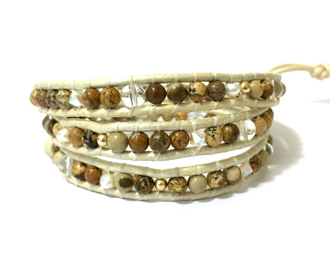 SALE Tan Jasper Mix on White Leather Bracelet