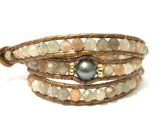 Moonstone + Tahitian Pearl Triple Wrap Bracelet