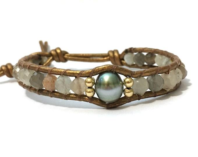 Moonstone + Tahitian Pearl Bracelet