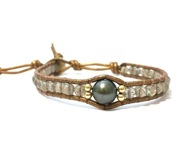 Labradorite + Tahitian Pearl Bracelet