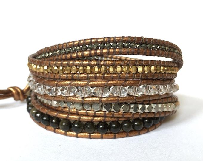 Pyrite + Onyx Mixed Metal Wrap Bracelet