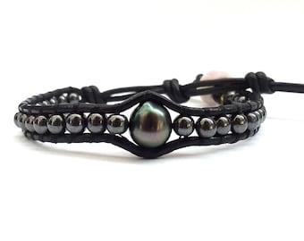 Hematite + Tahitian Pearl Bracelet