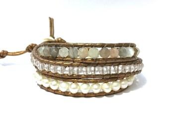 Moonstone, Quartz + White Pearl Triple Wrap Bracelet
