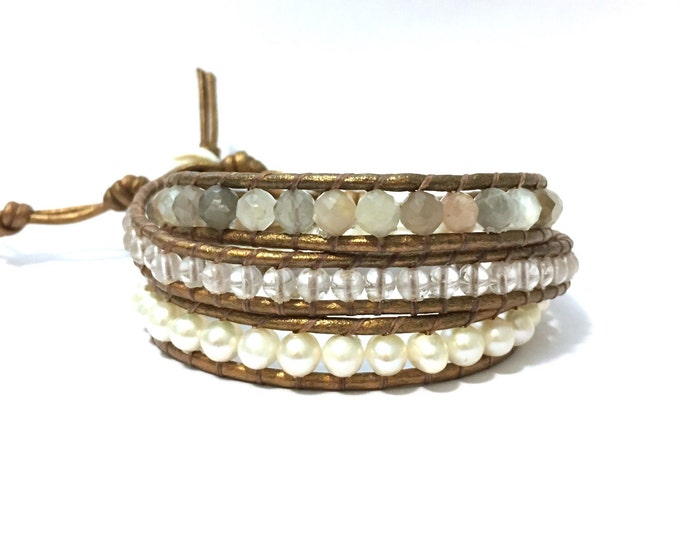 Moonstone, Quartz + White Pearl Triple Wrap Bracelet