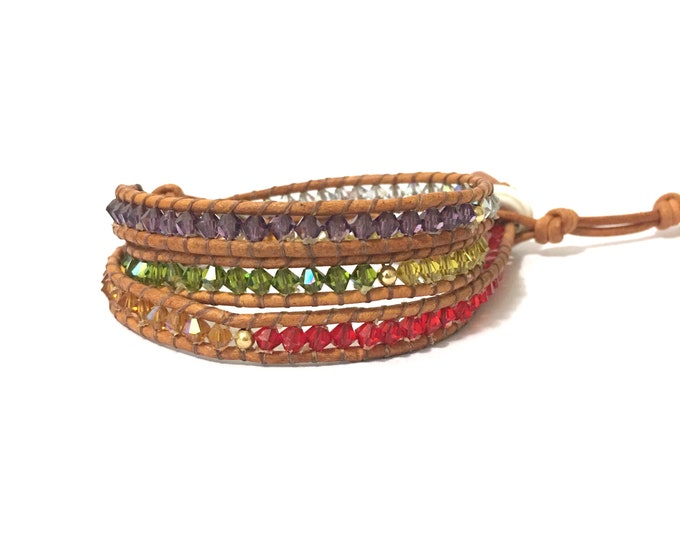 SALE Swarovski Rainbow Triple Wrap Bracelet